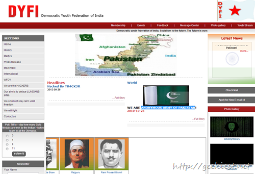 DYFI website Hacked by Anonymous Army of Pakistan