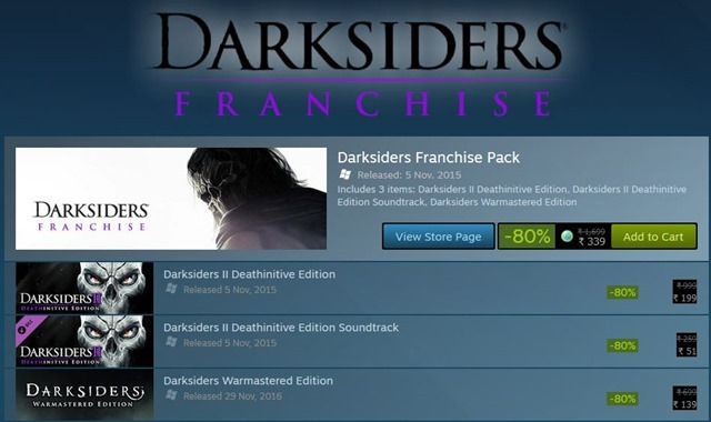 Darksiders Franchise Steam Sale