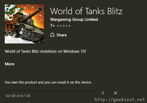 Download size World of Tanks Blitz for PC