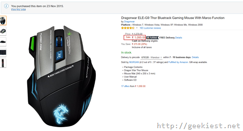Dragonwar ELE-G9 Thor Bluetrack Gaming Mouse With Marco Function Amazon