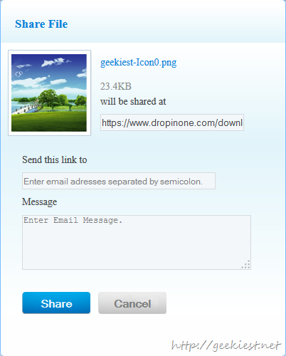 DropinOne you can share the files with your friends easily