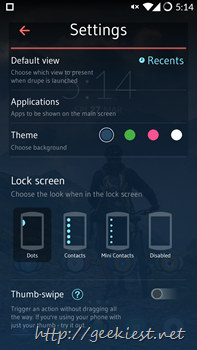 Drupe Settings Screen