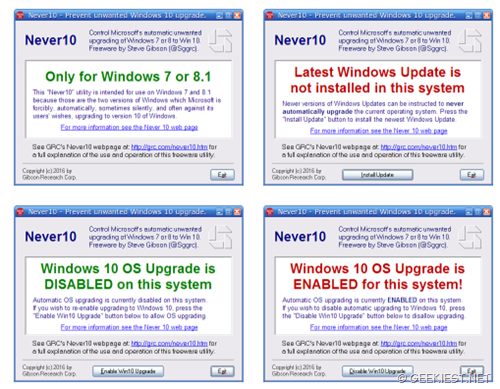 Easy way to stop Windows 7,8, 8.1 Upgrading to Windows 10