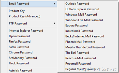 Email client password recovery