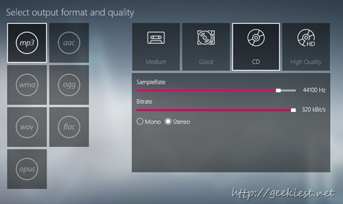 Extract Audio - select output format and quality