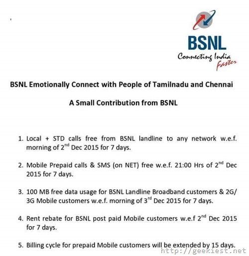 FREE BSNL Calls for chennai