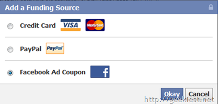 FaceBook coupon code worth $25