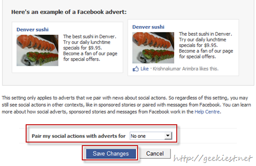Facebook Adverts and friends optout