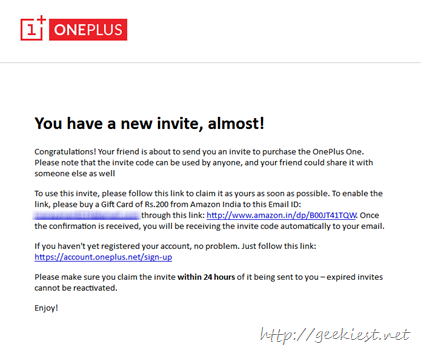 Fake OnePlus One invitation