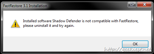 FastRestore not compatible with Shadow Defender