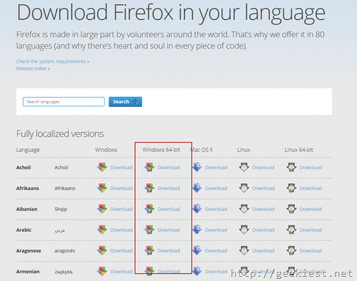 Firefox 64-bit version official download