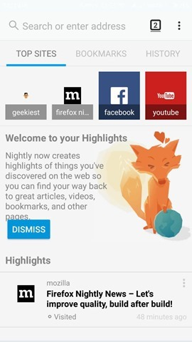 Firefox Photon UI Android Blue