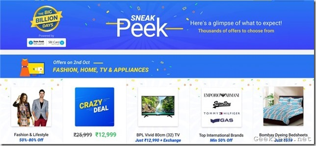 Flipkart Big Billion Days October 2016