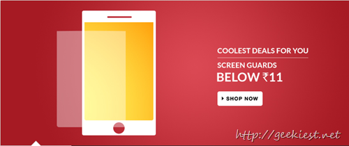 Flipkart Offers Screen guards for INR 11 including shipping