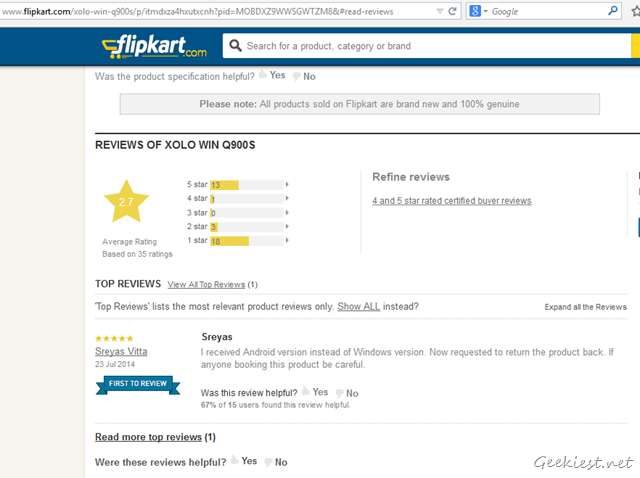 Flipkart Xolo Win Q900S - Android version review.
