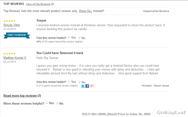 Flipkart reviews - Xolo Win Q900S - Android