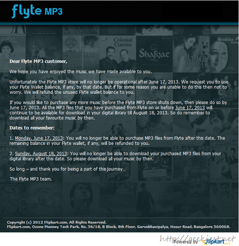 Flipkart to shutdown Flyte MP3 Store