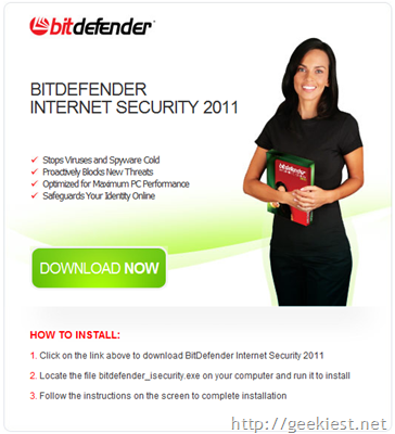 Free 3-Months Subscription to BitDefender Security Software[4]