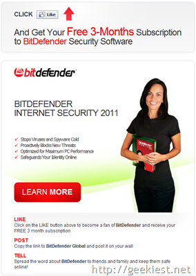 Free 3-Months Subscription to BitDefender Security Software