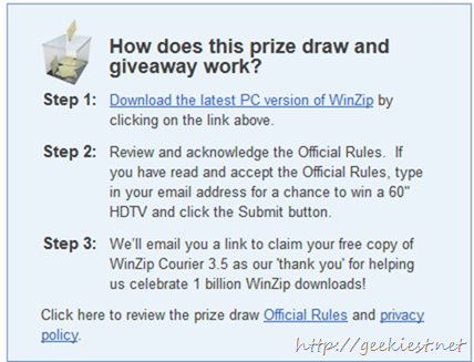 Free Winzip Courier 3.5 and a chance to win 60 inch HDTV