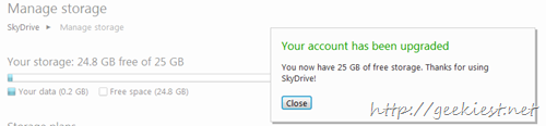 Free upgrade to 25 Gb Skydrive