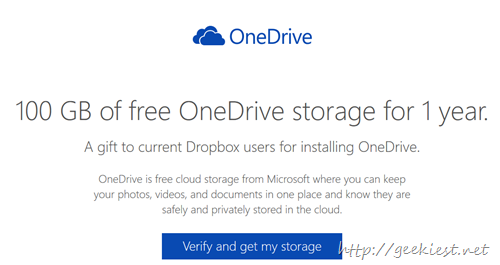 Free 100GB OneDrive storage space for 1 year