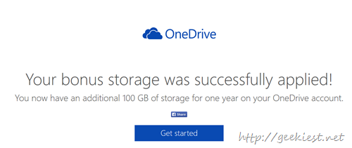 Free 100GB OneDrive storage space for 1 year for dropbox users