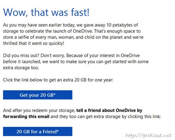 Free 20Gb for one year