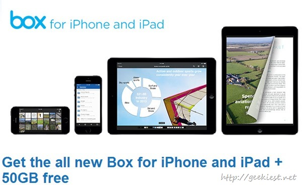 Free 50GB Box account for iPad and iPhone users