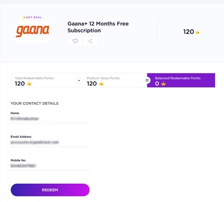 Free Gaana 12 months Subscription