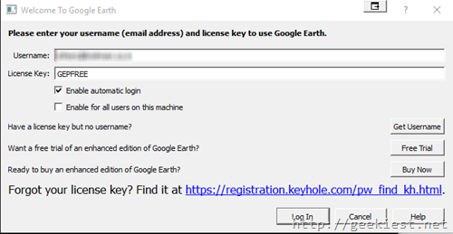 google earth pro free license key and username