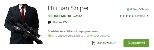 Free Hitman Sniper Android Game giveaway