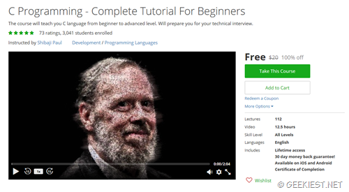 Free Udemy Cource for C