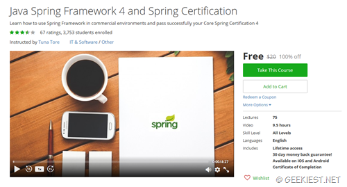 Free Udemy Courses for Java Spring