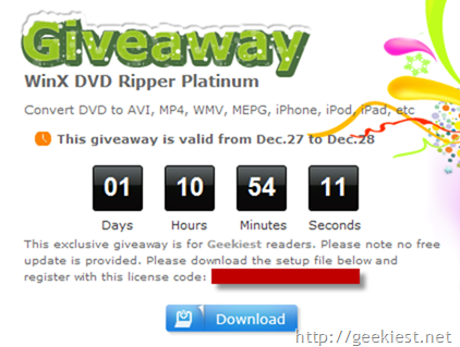 Geekiest Promotion - WinX DVD Ripper Platinum worth $45.95 for All