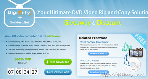 Geekiest Giveaway - WinX HD Video Converter Deluxe full version license