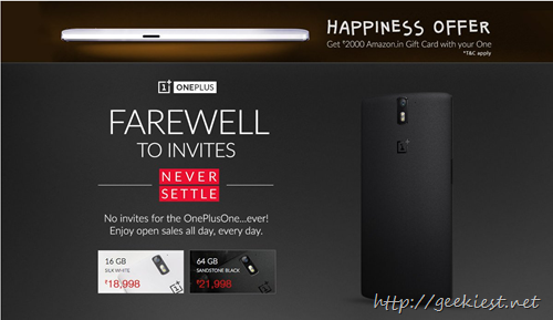 Get Amazon Gift card worth INR 2000 with OnePlus One