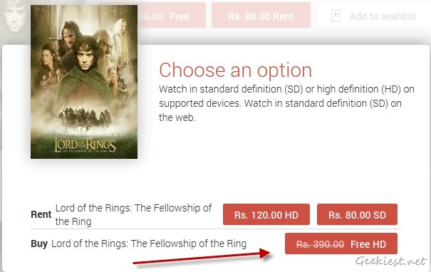 Get Lord Of The Rings for free from Google Play Movies
