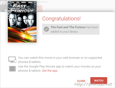 Get free The Fast and The Furious  in HD from Play Store