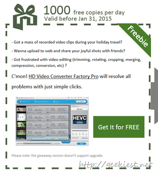 Giveaway - HD Video Converter Factory Pro 1000 copies per day