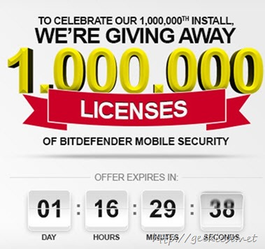 Giveaway 1 Million FREE Bitdefender Mobile Security licenses