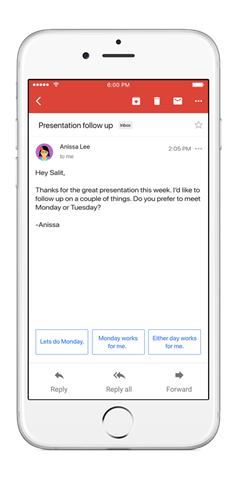 Gmail Smart Reply ios
