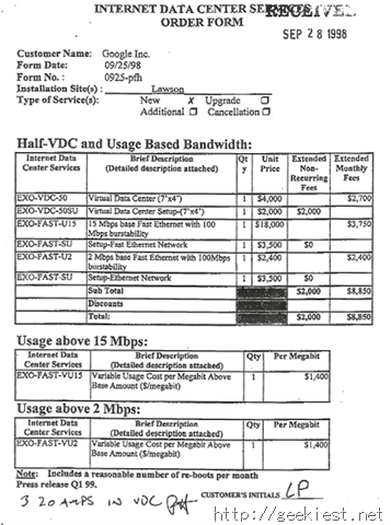 Google - Internet Data Services Bill from 1998