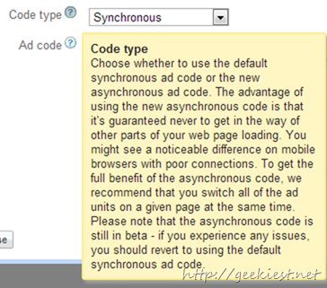 Google AdSense Asynchronous Code for faster sites