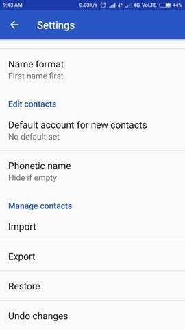 Google Contacts App Settings 2