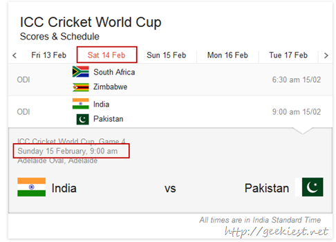 Google ICC worldcup schedule in search result