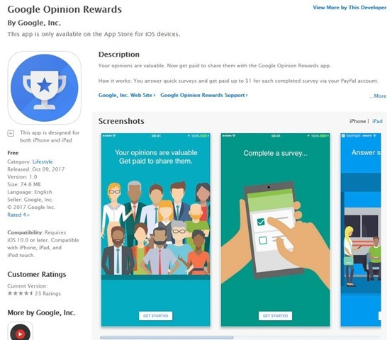 Google Opinion Rewards for iOS
