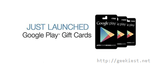 Google Play Giftcards available on Amazon India