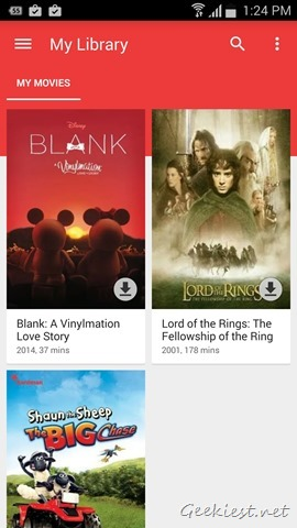 Google Play Movies Library