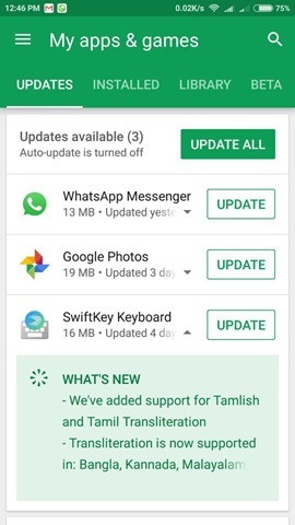 Google Play Store version 8.0 update
